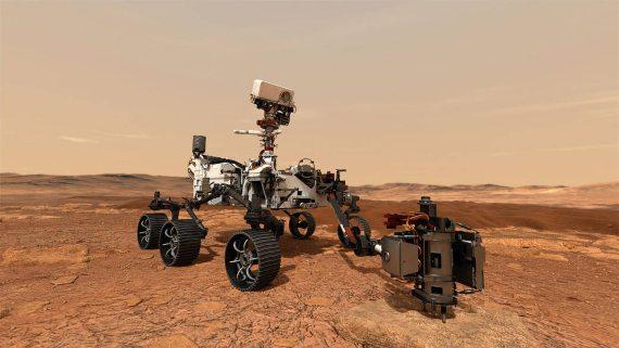 BBVA-OpenMind-Materia-Carrera espacial 5-En esta ilustración, el rover Mars 2020 de la NASA usa su taladro para extraer muestras de una roca en Marte. Credito: NASA