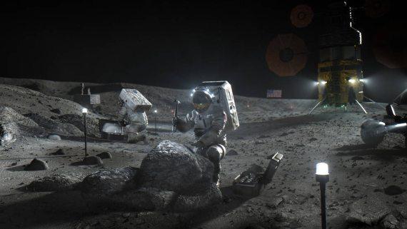 Illustration of Artemis astronauts on the Moon. Credits: NASA-Illustration of Artemis astronauts on the Moon. Credits: NASA