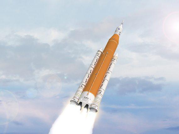 BBVA-OpenMind-ambiciones lunares y marcianas de la NASA-Carrera espacial 3El cohete Space Launch System (SLS) de la NASA se eleva al espacio en este dibujo artístico. Crédito: NASA