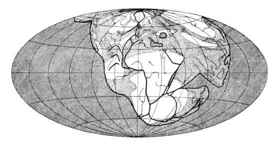BBVA-OpenMind-Fuco-Wegener y la deriva continental que rompió los esquemas a los geólogos-Wegener 1-El supercontinente Pangea. Fuente: Wikimedia.