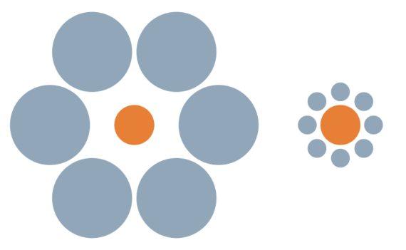 BBVA-OpenMind-MAteria-Por qué las ilusiones ópticas engañan a nuestro cerebro 5-La ilusión de Ebbinghaus engaña menos a los niños. Fuente: Wikimedia
