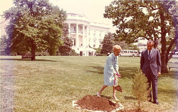 President Richard Nixon and First Lady Pat Nixon plant a tree on the White House South Lawn to recognize the first Earth Day in 1970. Image: Wikimedia Commons