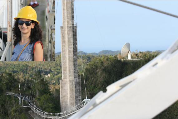 BBVA-OpenMind-Borja Tosar-telescopio de Arecibo 5-El nuevo radiotelescopio de 12 metros visto desde la plataforma de instrumentos. Arriba a la izquierda, Noemí Pinilla. Crédito: Noemi Pinilla