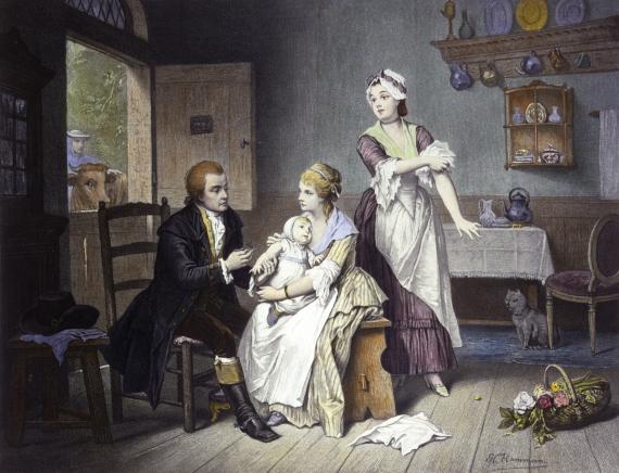 BBVA-OpenMind-Yanes-evolución vacunas de Edward Jenner a Katalin Karikó-2-Edward Jenner vacunando a su hijo. Crédito: Wellcome Library
