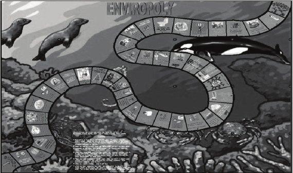 'Enviropoly' es un juego de tablero, dados y cartas.