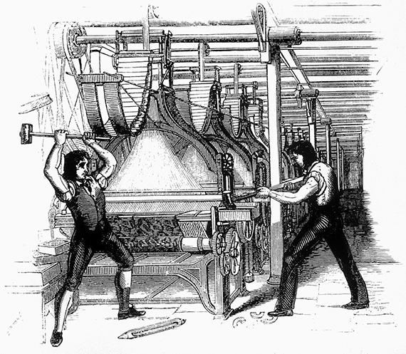 A comienzos del siglo XIX los artesanos ingleses protagonizaron el movimiento del ludismo, que protestaba porque los telares industriales amenazaban con reemplazar sus trabajos artesanales con empleos de baja cualificación de operadores de las máquinas. Imagen: Wikipedia