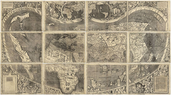 """BBVA-OpenMind-Americo Vepucio-Amerigo Vespucci-cosmógrafo- 4-El mapa de Waldseemüller de 1507 es el primer mapa que incluye el nombre """"América"""" y el primero en representar el continente separado de Asia.Fuente: Wikimedia"""