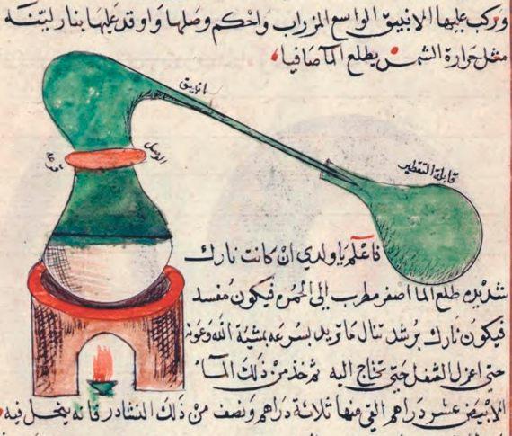 BBVA-OpenMind-Miguel Barral-Jabir ibn Hayyan-3-Dibujo y descripción del alambique, por Jabir Ibn Hayyan en el siglo VIII. Fuente: Wikimedia.