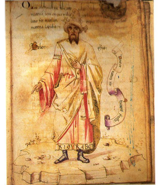 BBVA-OpenMind-Miguel Barral-Jabir ibn Hayyan-4-El alquimista Jabir ibn Hayyan en un retrato europeo de Geber del siglo XV, Codici Ashburnhamian. Fuente: Wikimedia