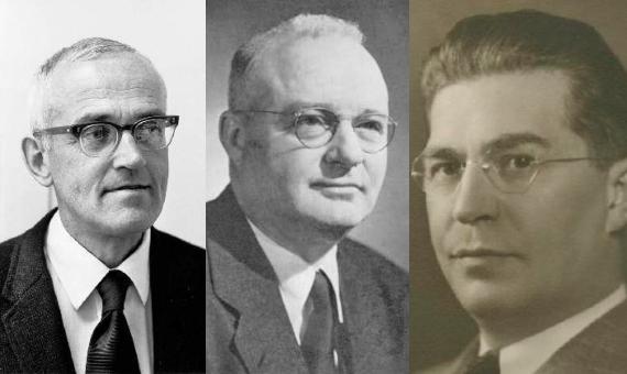 BBVA-OpenMind-Yanes-Clair Patterson- héroe prohibir plomo en la gasolina-1-Clair Patterson (izquierda), se enfrentó a Thomas Midgley (centro) y Robert Kehoe (derecha) con el fin de eliminar el plomo de los combustibles fósiles. Crédito: Wikimedia.