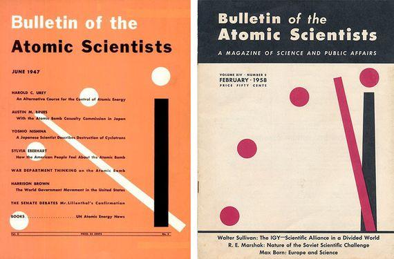 Portada original de la primera edición del Doomsday Clock (derecha) en comparción con la edición de 1958 (izquierda). Fuente: Bulletin of the Atomic Scientists