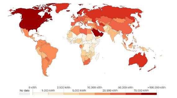 Consumo energético por persona durante 2019 en todos los países de la Tierra. Fuente de la imagen: Our World in Data