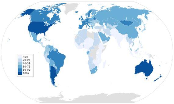 BBVA-OpenMind-Yanes-Consumo de carne y cambio climatico-un debate con muchas trampas Consumo carne 3-Mapa que representa el consumo de carne anual per cápita en el mundo. Fuente: FAO/Wikimedia-Meat Consumption and Climate Change