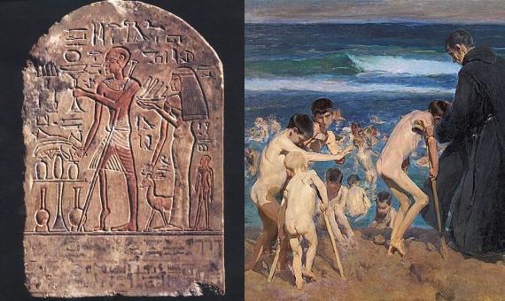 BBVA-OpenMind-Yanes-Jonas Salk y la vacuna que vencio a la polio-Vacuna Polio 1-Se cree que en algunos vestigios de la civilizaci贸n egipcia, como la tablilla de la izquierda, de 3.400 a帽os de antig眉edad, ya se representan enfermos de poliomielitis. Por su parte, la imagen de la derecha corresponde con una pintura de Joaqu铆n Sorolla del a帽o 1899 y representa la realidad de cientos ni帽os a finales del siglo XIX. Fuente: Wikimedia