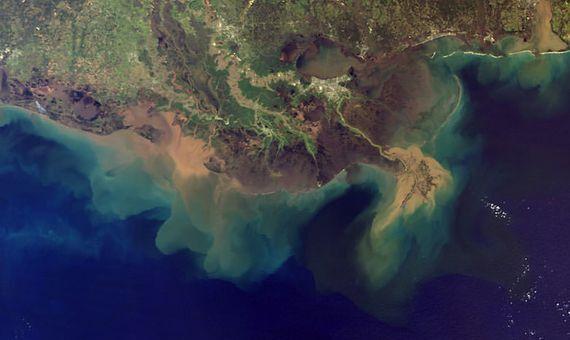 """BBVA-OpenMind-Materia-Agrecision-climatica-Gas de la risa-3-Mediante el proceso de eutrofización, las aguas marinas expuestas a los sedimentos contaminantes se convierten en """"zonas muertas"""" con niveles muy bajos de oxígeno y grandes proporciones de óxido nitroso, como en la costa del Delta del Misisipi. Imagen: National Ocean Service"""