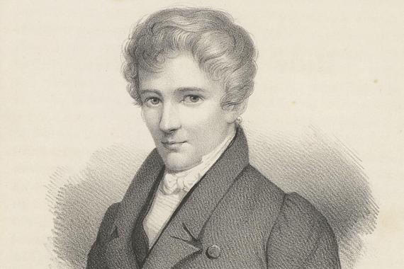 Retrato litografiado de un joven Abel realizado tiempo después de su muerte. Imagen: Wikimedia