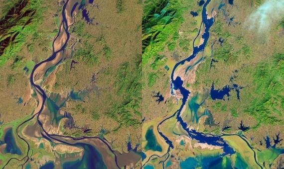 BBVA-OpenMind-Material-En busca de soluciones a la crisis mundial de la arena 2 La extracción masiva de arena del lago Poyang y su cuenca ha producido grandes cambios en el ecosistema y su biodiversidad. En la imagen se puede ver la comparación entre 1995 y 2013. Imagen: NASA